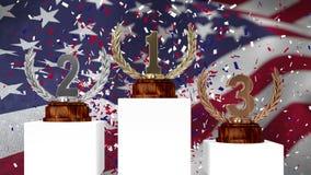 Трофеи перед развевать американский флаг сток-видео