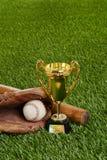Трофей бейсбола с шариком и перчаткой летучей мыши Стоковая Фотография