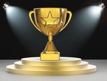 Трофей звезды золота на этапе Стоковое Изображение