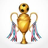 Трофей и лента награды футбола золотые. Стоковые Фотографии RF