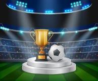 Трофей и футбольный мяч на подиуме с предпосылкой футбольного стадиона иллюстрация вектора