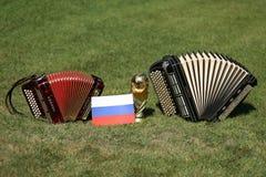 Трофей кубка мира и bayan Стоковая Фотография
