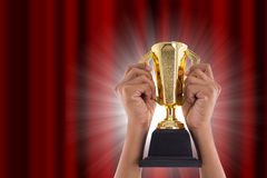 Трофей награды для достижения победителя стоковые изображения rf