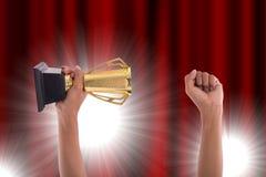 Трофей награды для достижения победителя стоковое фото rf