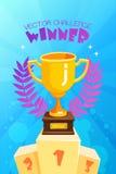 Трофей победителя на плакате подиума красочном иллюстрация штока