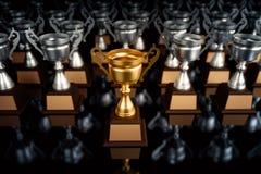 Трофей уникально чемпиона золотой стоя из толпы уникально l стоковая фотография rf