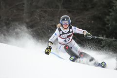 Трофей 2019 ферзя снега - слалом дам стоковые изображения rf