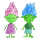 Тролля шаржа зеленые - девушка и мальчик Иллюстрация акварели нарисованная рукой Стоковое Изображение RF
