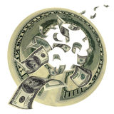 труба s дег летания доллара Стоковая Фотография