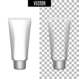 трубки белого реалистического косметического значка пакета 3d пустые на прозрачной предпосылке vector иллюстрация Реалистическая  Стоковое Изображение