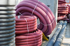 Трубки pvc на улице для canalization города Стоковое Изображение