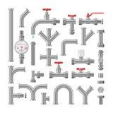 Трубопровод трубопровода вектора трубы или пущенная по трубам конструкция трубопровода набора иллюстрации системы тубопровода мет бесплатная иллюстрация