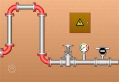 Трубопровод в подвале иллюстрация штока
