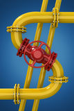 трубопровод газа детали зоны промышленный пускает желтый цвет по трубам стали Стоковое фото RF