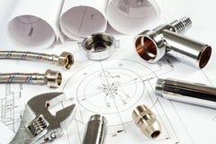 Трубопровод и чертежи, натюрморт конструкции стоковые фотографии rf