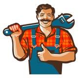 Трубопровод обслуживает логотип вектора работник водопроводчика или значок ремонта иллюстрация штока
