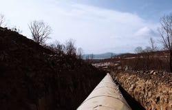 Трубы газопровода, конструкции и класть трубопроводов для транспорта газа и масла Стоковое Фото