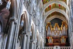 Трубы органа в соборе Almudena стоковая фотография