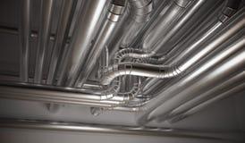 Трубы топления, вентиляции и кондиционера HVAC представленная иллюстрация 3d иллюстрация вектора