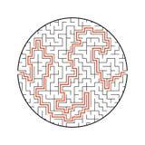 Трудный круглый лабиринт малыши игры Головоломка для детей Один вход, один выход Головоломка лабиринта Плоская иллюстрация вектор иллюстрация вектора