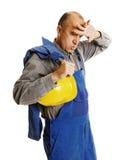 трудный утомленный работник трудодня стоковая фотография rf