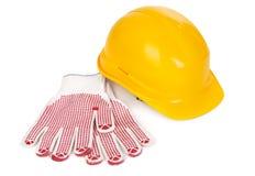 Трудный шлем и перчатки Стоковое Изображение