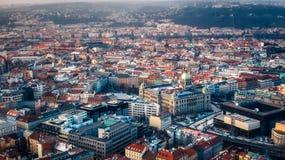 Трутень взгляда сверху Праги музея воздушный стоковая фотография