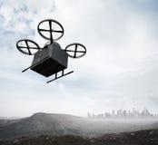 Трутень воздуха дистанционного управления дизайна материала углерода фото родовой летая пустой черный ящик под поверхность земли  Стоковое фото RF