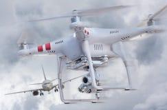 Трутень и самолет Стоковое фото RF