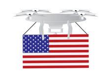 Трутень с американским флагом Стоковое фото RF