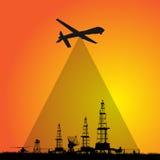 Трутень фотографирует сельскую местность воздушное фотографирование, воздушная разведка стоковое фото