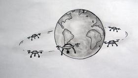 Трутни спутники земли стоковые изображения
