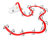 Трудный путь прицелиться концепция Путь стрелки к успеху через Athleti Стоковые Фотографии RF