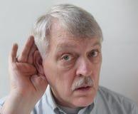 трудный человек слуха более старый Стоковое Изображение RF