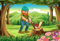Трудолюбивый lumberjack прерывая древесины на лесе иллюстрация штока