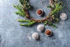 Трюфеля шоколада рождества Стоковое Фото