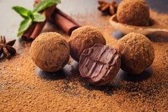 Трюфель шоколада, конфеты шоколада трюфеля с бурым порохом Ho Стоковые Изображения