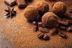 Трюфель шоколада, конфеты шоколада трюфеля с бурым порохом Ho Стоковое Изображение