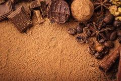 Трюфель шоколада, конфеты шоколада трюфеля с бурым порохом Ho Стоковые Изображения RF