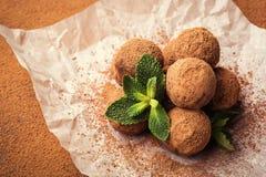 Трюфель шоколада, конфеты шоколада трюфеля с бурым порохом Ho Стоковая Фотография