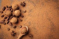 Трюфель шоколада, конфеты шоколада трюфеля с бурым порохом Ho Стоковое Фото