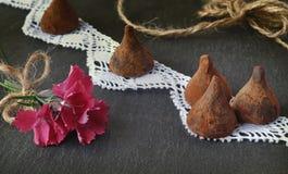 трюфеля изолированные шоколадом белые Цветки и конфеты Стоковая Фотография