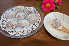 Трюфеля снежного кома отбензинивания шоколада и кокоса Стоковое фото RF