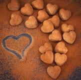 Трюфеля шоколада сердца форменные Стоковое Изображение