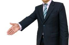Трясите бизнесмена рук нося черный костюм и свяжите Стоковые Фото
