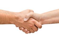Трястиющ руки 2 мыжских изолированных людей Стоковое фото RF