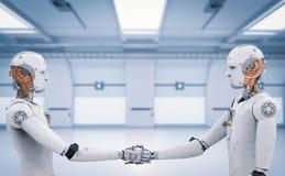 Трясти руки робота андроида Стоковые Фото