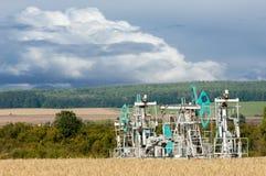 Тряся масло дня kazakhstan -го насосы масла месяца в июне западные Нефтедобывающая промышленность equipment зима температуры Росс Стоковые Изображения RF