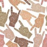 Тряхните картину рук безшовную, утес, металл, st музыки рок-н-ролл Стоковые Фото