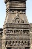 Тряхните предпосылку текстуры резного изображения пещер Ellora в Aurangabad, Индии Место всемирного наследия ЮНЕСКО в махарастре, стоковая фотография